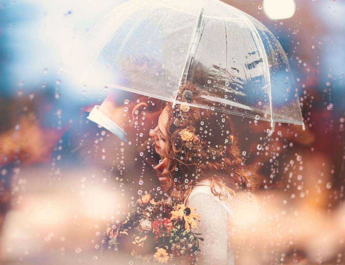 regen op bruiloft